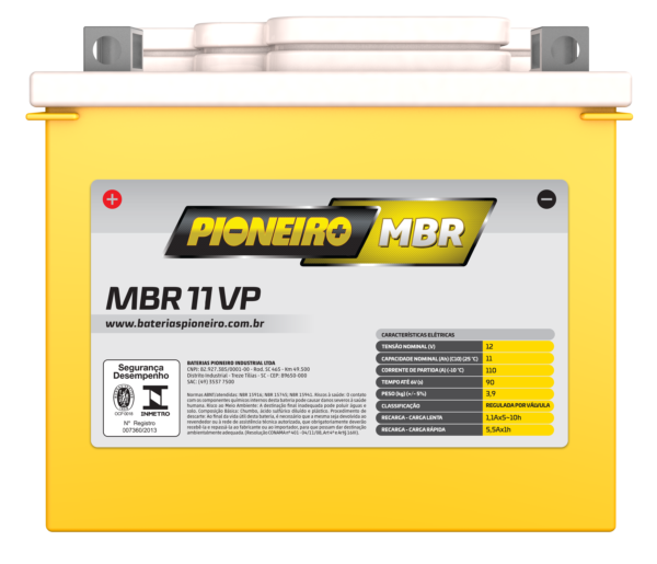 Bateria de Moto Pioneiro MBR 11-VP – 9 Meses de Garantia